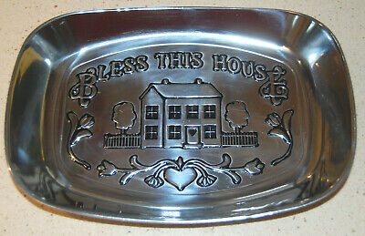 "Euc Wilton Armetale ""Bless This House"" Aluminum Small Bread Tray"