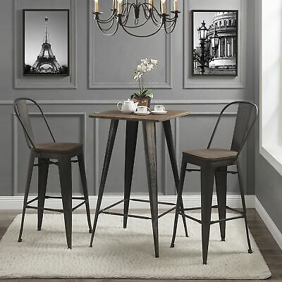 3pcs Bar Bistro Dining Table Set w/1 Table 2 Pub Stools Counter Chair Wood Metal