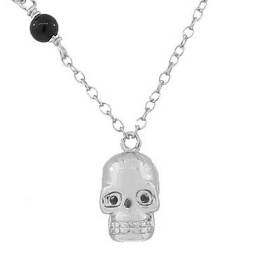 Sterling Silver Black CZ Skull Charm Womens Girls Pendant Necklace with Chain