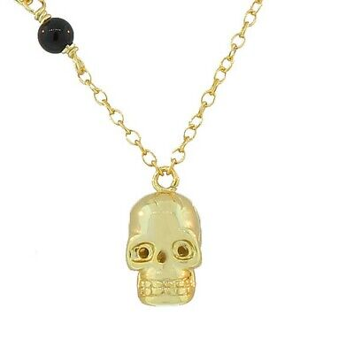Sterling Silver Yellow Gold Black CZ Skull Charm Womens Pendant Necklace