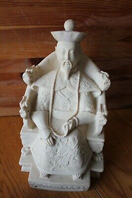 """Carved Statue figurines Emperor Chinese 10.5"""" Large Ivory colored resin Vintage"""