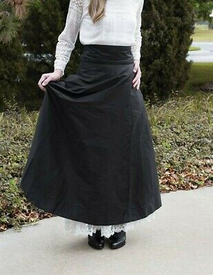 Victorian Trading Co Black Taffeta Holiday Ankle Length Skirt w/ Bow SM 42D