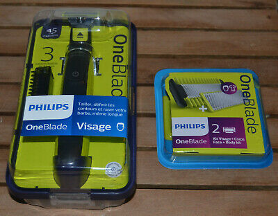 Philips One Blade Rasoir Lame 3 Sabots Barbe QP2520 Neuf + kit visage et corps