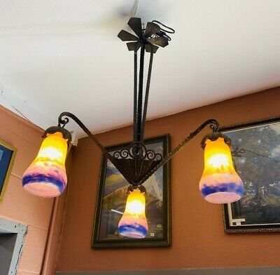 Beautiful 1920s signed Muller Freres 3 light Chandelier Hand Forged Iron rewired