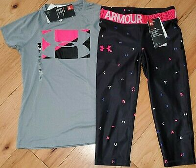 Under Armour printed logo cropped capris leggings NWT girls' M YMD black