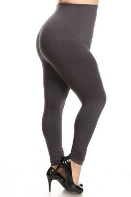 Yelete Legwear High Waist Compression Leggings French Terry Lining Plus CHARCOAL