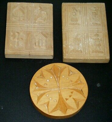 Vintage Carved Wood Chocolate Molds x3