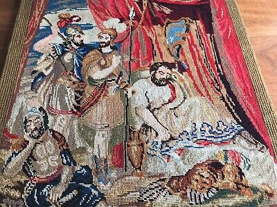 Antique Hand Embroidered  ROMAN SCENE Wood Backed Panel Picture 16x13 Inches