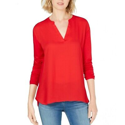 INC NEW Women's Solid Mixed-materials Split-neck Blouse Shirt Top TEDO