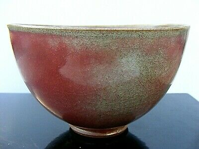 Antique Chinese Flambe Bowl Oxblood Red Monochrome Signed
