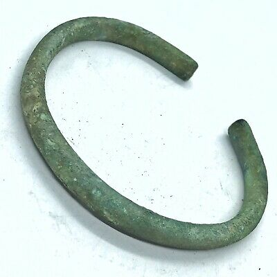 Rare Ancient Viking Style Old Brass Bracelet Artifact Antiquity European Norse M