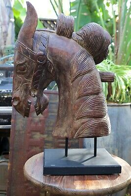 Large Sculpture Carousel Wild Stallion Hand Made Horse Head on Wood Base
