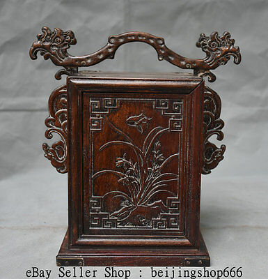 """11""""Old China Huanghuali Wood Dynasty Flower Birds Beast Portable Drawer Food Box"""