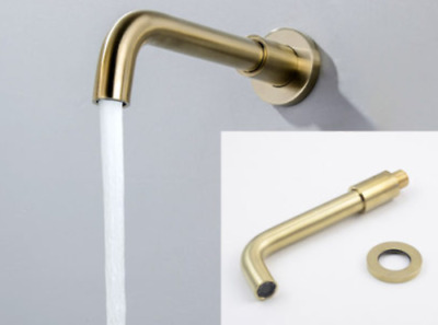 Wall Mount Bath Tub Shower Round Faucet Spout Brass Brushed Gold Single Cold Tap