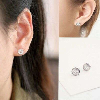 7mm Retro Silver Plated Button Stud Earrings Jewelry ca