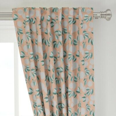 "Blush Pink Magnolia Botanical Leaves Joyink 50"" Wide Curtain Panel by Roostery"