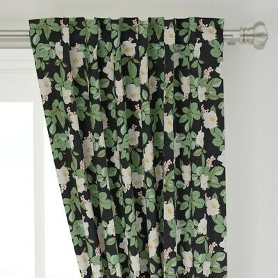 "Floral Magnolia Black Pink Green Modern Home 50"" Wide Curtain Panel by Roostery"