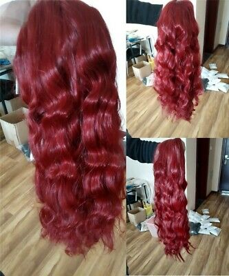"""AU 24"""" Wine Red Long Wavy Curly Heat safe Lace front wigs Daily Use"""