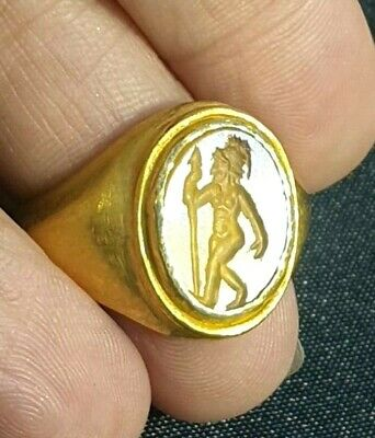 Ancient  Amber Intaglio Roman Knight Holding Spear 22K SOLID Gold Signet Ring