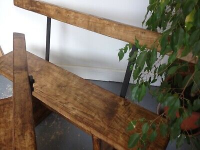 Lovely Pair Of Wooden Metal Benches Seats