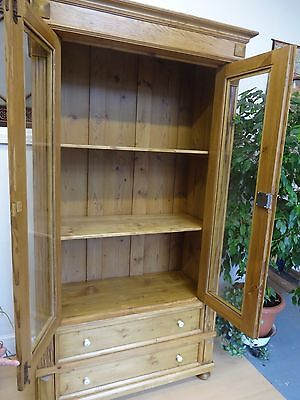 Lovely Large Wood Wooden Glass Doors Cabinet Cupboard