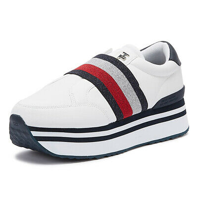Tommy Hilfiger Elastic Slip-on Flatform Womens White Trainers Casual Shoes