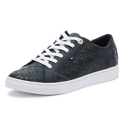 Tommy Hilfiger Jacquard Womens Navy Trainers Ladies Sport Casual Shoes