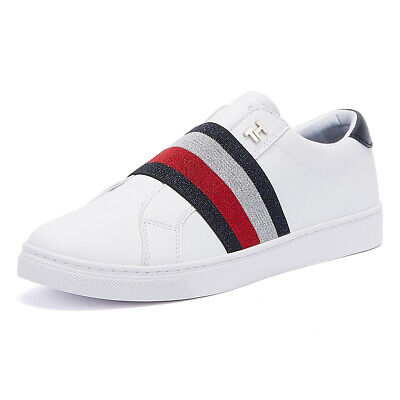 Tommy Hilfiger Sparkle Slip-On Womens White Trainers Ladies Sport Casual Shoes
