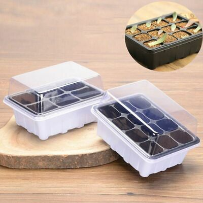 Planting Seed Tray Kit Germination Box Dome Base Gardening Grow 6/12 Holes Kits