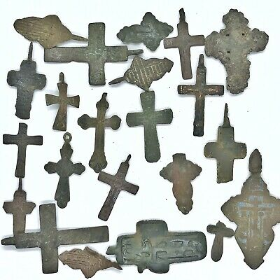 20+ Medieval Cross Pendants & Fragments Byzantine Russian Artifact Orthodox B