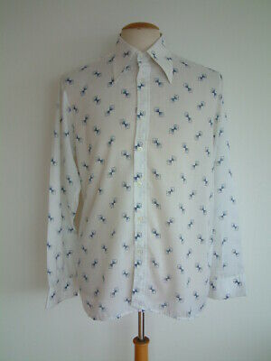 """1970's SHIRT..LARGE COLLARS..'PRISM' PATTERN..17"""" / XL..MADE IN ENGLAND..70s"""