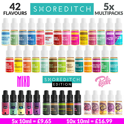 5 x 10ml E LIQUID SHOREDITCH MIXD PUDN Vape Juice 0mg 3mg 6mg 12mg 18mg ELIQUID