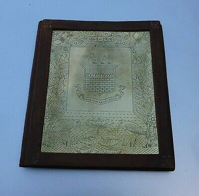 Antique Arts & Crafts Engraved Brass Armorial Blotter Case - Henry Stacey Marks?