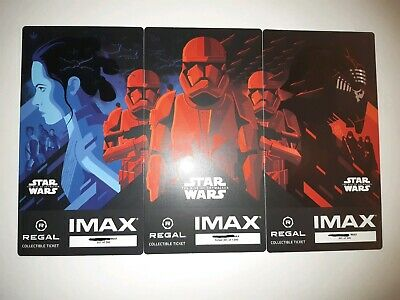 Star Wars The Rise Of Skywalker SAME NO. SET of 3 Collectible Regal IMAX Tickets