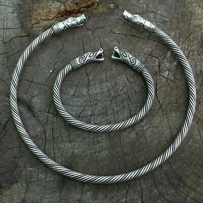 Viking Wolf Head Fenrir Torc Neck Ring Ragnar Handmade Heavy Twisted bracelet