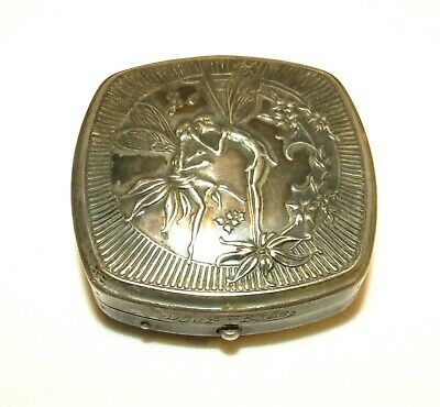 Antique Victorian Sterling Silver DJER KISS Compact Poudre Kerkoff Fairies Kiss