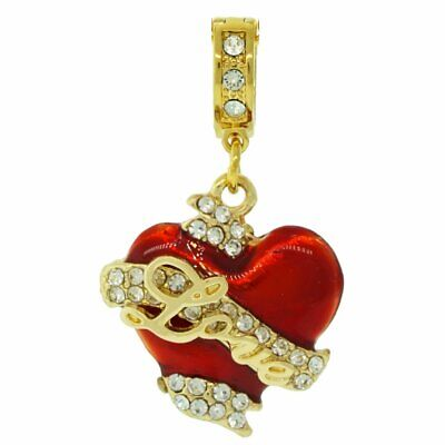 Ritzy Couture Swarovski Crystals Love Heart Valentine's Enhancer Charm-Goldtone