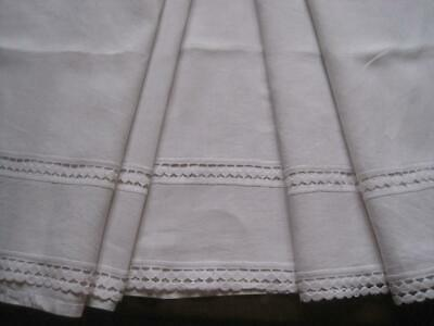 Beautiful Vintage French White Pure Linen Sheet With Braid - A Wonderful Curtain