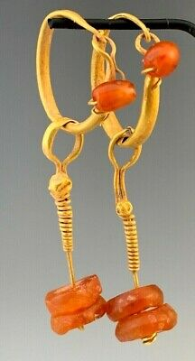 Ancient Roman Gold Decorated Hoop Earrings With Ancient Carnelian Dangles; Nice!