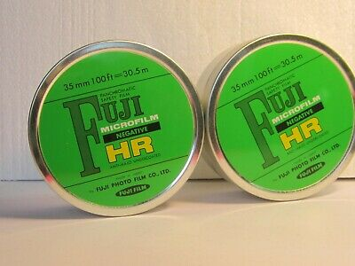 2 FUJI Microfilm Negative HR Vintage EMPTY movie tins 35mm approx 3 3/4 x 1 5/8""