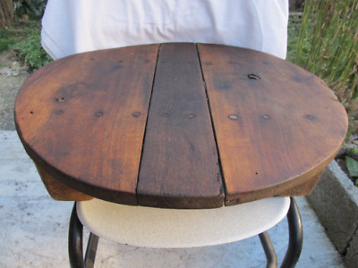 Old Antique Primitive Wooden Round Ottoman Dinning Table