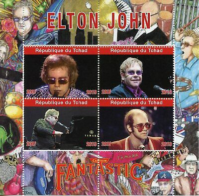 Chad Music Stamps 2019 CTO Elton John Captain Fantastic Celebrities 4v M/S
