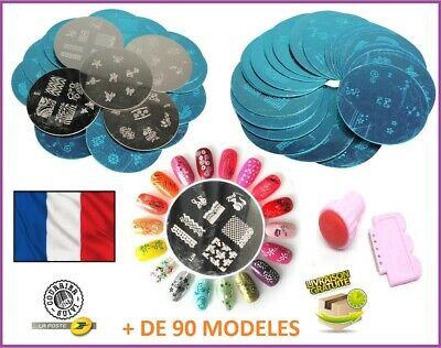 Kit ensemble 10 plaques + 1 Tampon raclette Nail art Stamping Stickers FRENCH