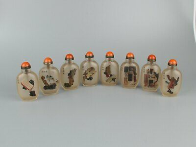 Chinese Exquisite Handmade Inside painting Glass snuff bottle 8pcs