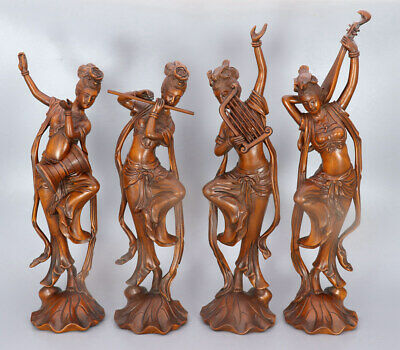 Chinese Exquisite Hand-carved Four beautiful women Carving Boxwood statue