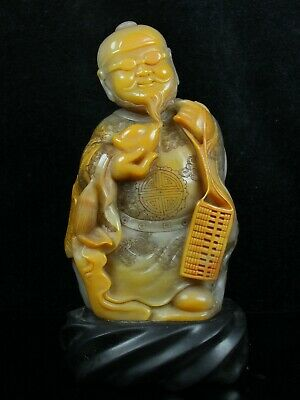 Chinese Exquisite Hand-carved the ancients Carving Shoushan Stone statue