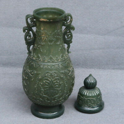 Chinese Exquisite Hand-carved bat Carving Hetian jade bottle / pot