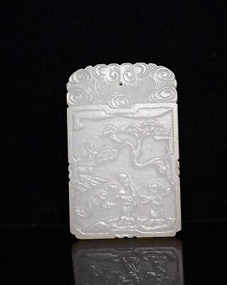 Chinese Exquisite Hand carved people landscape Carving Hetian jade Pendant