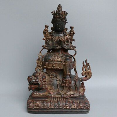 Chinese Exquisite Handmade Guanyin beast copper Gilt statue
