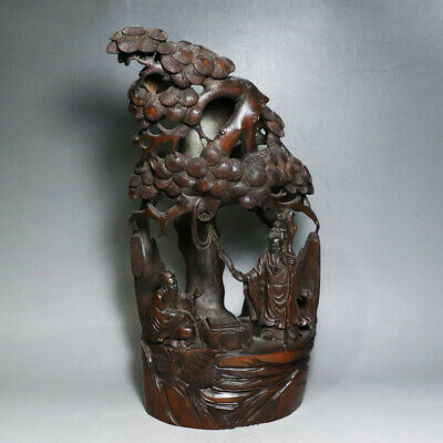 Chinese Exquisite Hand-carved Old man Carving bamboo statue